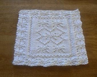 Hand Knit Super Snowflake White Cotton Dish Cloth or Wash Cloth