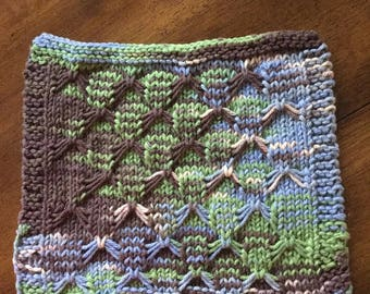 Blue, Green and Brown Variegated Butterfly Stitch Dish Cloth or Wash Cloth