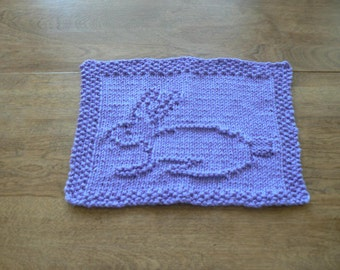 Lovely Lavender  Bunny Hand Knitted Dish Cloth or Wash Cloth