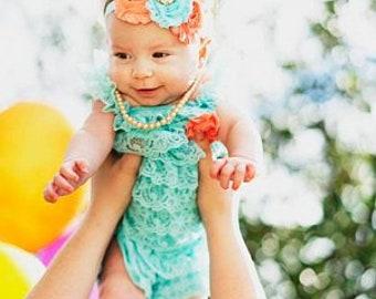 5236c3c1df04 aqua lace baby romper