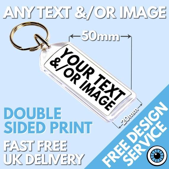 Custom 32mm Square Keyring • Bespoke Personalised Logo • Photo Image Keyrings