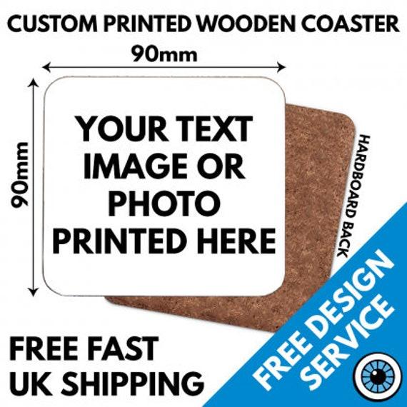 Set of 4 Personalised Hardboard Photo Drink Coasters Custom Printed 9cm Square