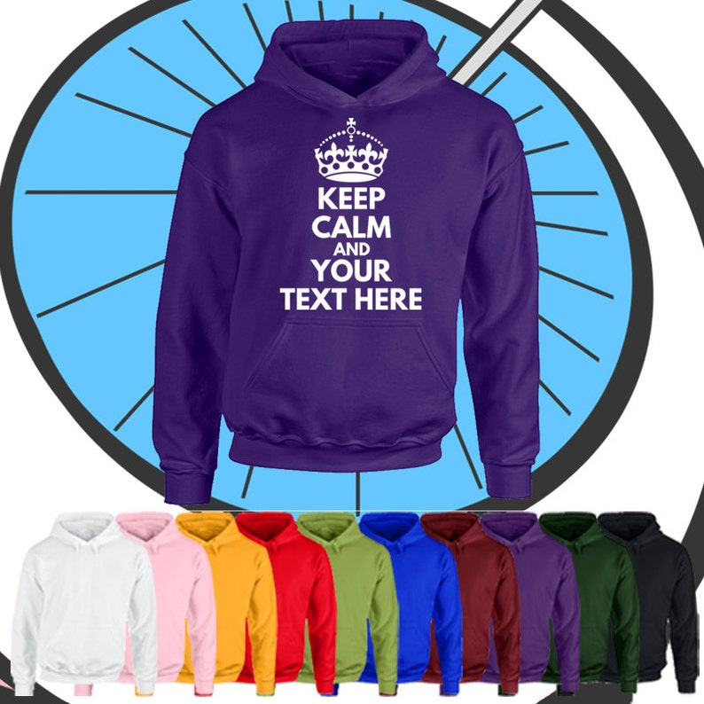 Childrens Custom Keep Calm Hoodie Any Name Text Personalised Party Hooded Top Gift Boys & Girls Personalized Present Hood