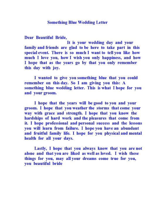 Something Blue Wedding Letter Wedding Poem Wedding Favor Etsy