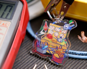 """High Voltage Keychain Pokemon inspired -3"""" Double Sided Holographic Acrylic Charm   Perfect for Nintendo Switch Case  """