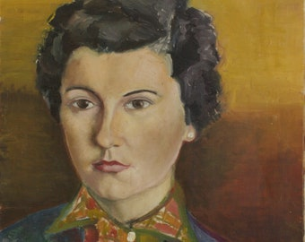 Vintage French Oil Painting by R. BRISSON - Portrait of a Lady - 1953