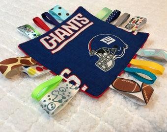 New York Giants Baby Sensory Crinkle Tag Toy, Giants Sensory Toy, Giants Football Crinkle Toy
