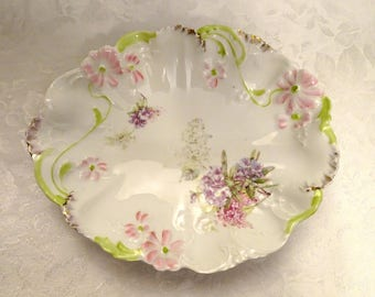 Weimar Germany Embossed Pink Daisy Floral Oval Serving Bowl with Green and Gold Accents