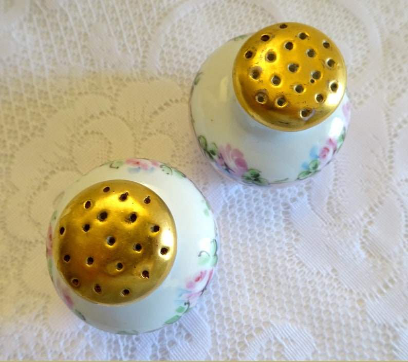Vintage Hand Painted Pink Rose Floral Gold Trim Footed Salt and Pepper Shakers Signed