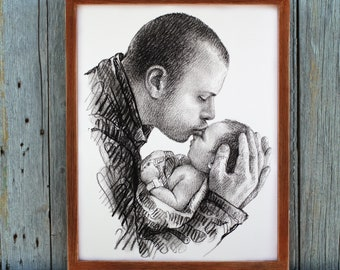 Personalized Dad Gift Fathers Day From Baby Daddy And Son Daughter New Gifts For Birthday Custom Drawing