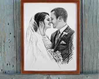 custom wedding portrait Anniversary present for him anniversary present for man anniversary present for husband marriage gifts art