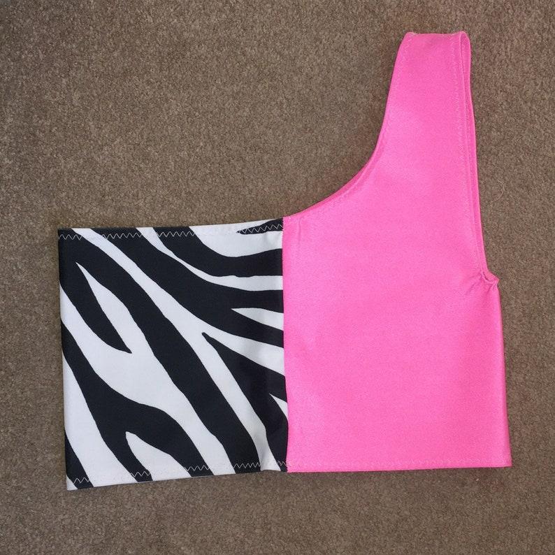 Sassy Pink Neon zebra one shoulder top