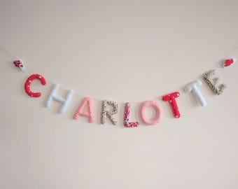 Fabric Name garland/Letters Banner/Baby room decoration/Wall Art Nursery/ Red garnet Liberty clouds