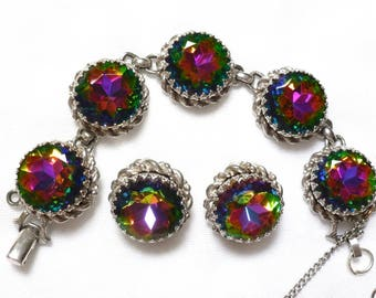 Schiaparelli silver tone WATERMELON tourmaline BRACELET and EARRING set beautiful bright!