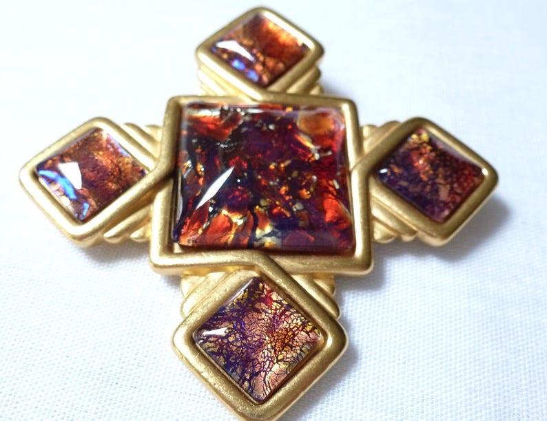 b090232df1292 YSL Yves Saint Laurent dichroic RED GOLD tone Maltese cross
