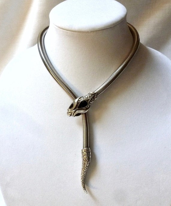 FRENCH silver tone SNAKE SERPENT choker necklace