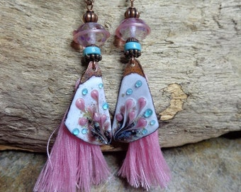 Earrings hippie/boho chic, pink and turquoise, boho, Lampwork beads, copper enamel, turquoise hieshi, pink tassel, gift