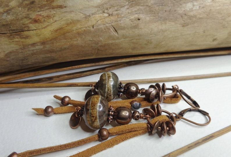 rustic earrings boho chic gems dZi agates copper Hematite Brown camel suede ties women/'s gift, Ethnic