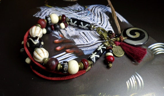 4 magnifique indonésien bijoux perles beads Indonesia handmade Brass