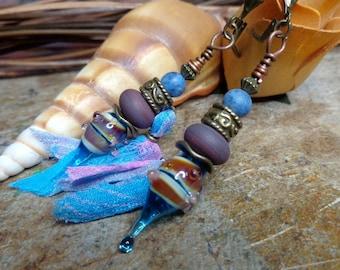Earrings Bohemian, hippie earrings, short earrings, boho earrings, Blue/Pink/Purple, Lampwork, silk, lapis lazuli beads.