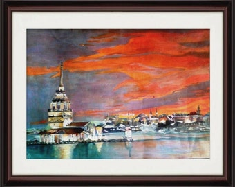 According Twilight on Istanbul photo, acrylic on special paper.