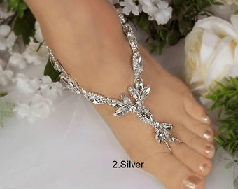 Wedding Barefoot Sandals, Bridal Foot Jewelry, Rose Gold or Silver Plated Rhinestone Foot Jewelry, Footless Sandal, Limited Style -SD012