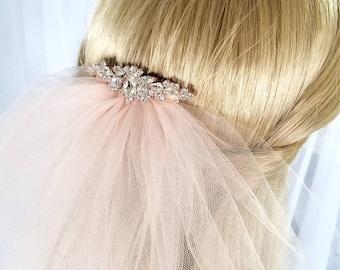 Wedding Veil, Rose Gold Veil with Crystal Comb,Color Veil for Bride,Simple Veil,2 Tier Plain Edge,Ivory,White Veil