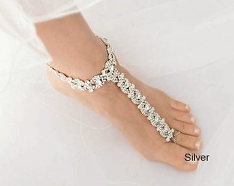 feae2741a68914 Wedding Rose Gold Barefoot Sandals
