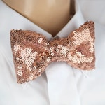 Rose Gold Sequin bow tie, Rose Gold glitter bow tie, Rose Gold Pocket Square, Rose Gold Kid bow tie, Color Sequin bow tie,Hand made