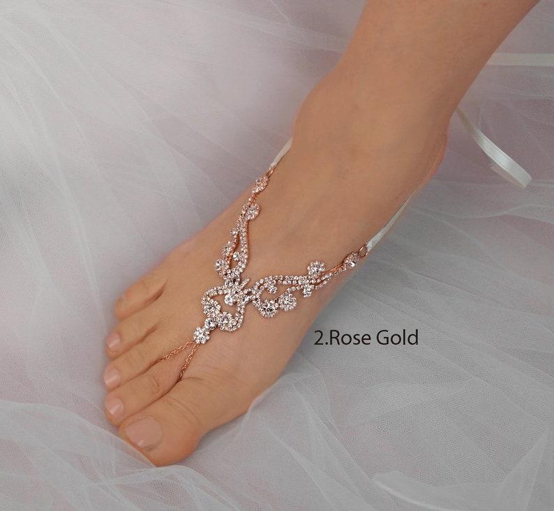 e8a3eeea683b Rose Gold Wedding Barefoot Sandals Bridal Foot Jewelry