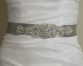 Vintage Pearl Crystal Silver Satin Wedding Sash, Crystal Bridal Belt, Wedding Bridal Belt, Satin Ribbon Wedding Sash, Wedding Belt- BT001