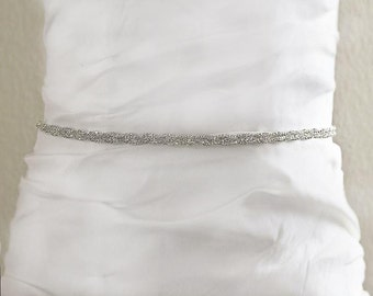 Bridal Wedding Sash, Silver Wedding Belt, Rhinestone White Satin Wedding Sash , Wedding Accessories- BT006