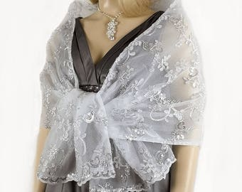 Vintage Silver,Champagne,Gold Embroidered Lace Shawl, Bridal Wrap, Bridal Wedding Scarf, Lace Bridesmaid Shawl,Party Dress Cover up-SF005