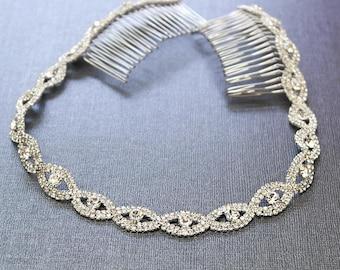 Silver Wedding Headband, Bridal Headpiece, Rhinestone Headband, Hair Tiara, Flower Girl,Hair Jewelry, Bridesmaid, Hair Accessory-HA011