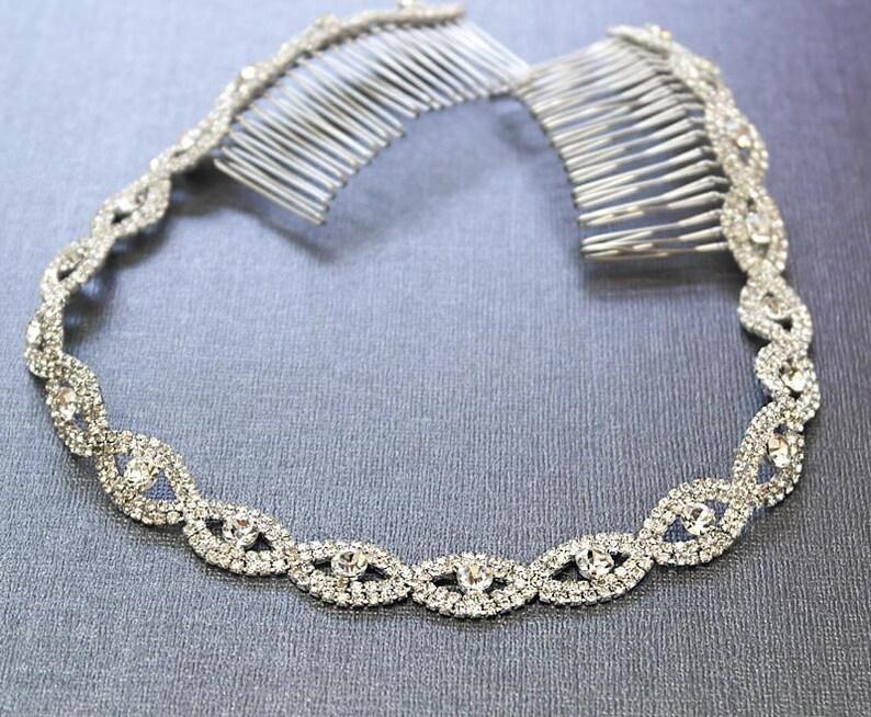 Silver Wedding Headband Bridal Headpiece Rhinestone Silver 13 inches
