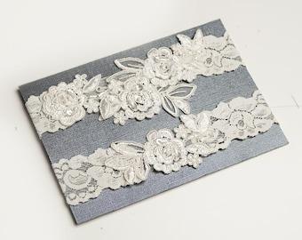 Light Ivory Beaded Lace Wedding Garter,One Piece Lace Garter,Keepsake Garter, Toss Garter, Customizable Handmade-GT024-1