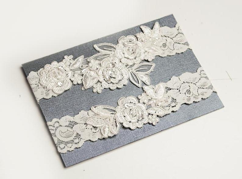 Light Ivory Beaded Lace Wedding GarterOne Piece Lace Set (Keepsake+Toss )
