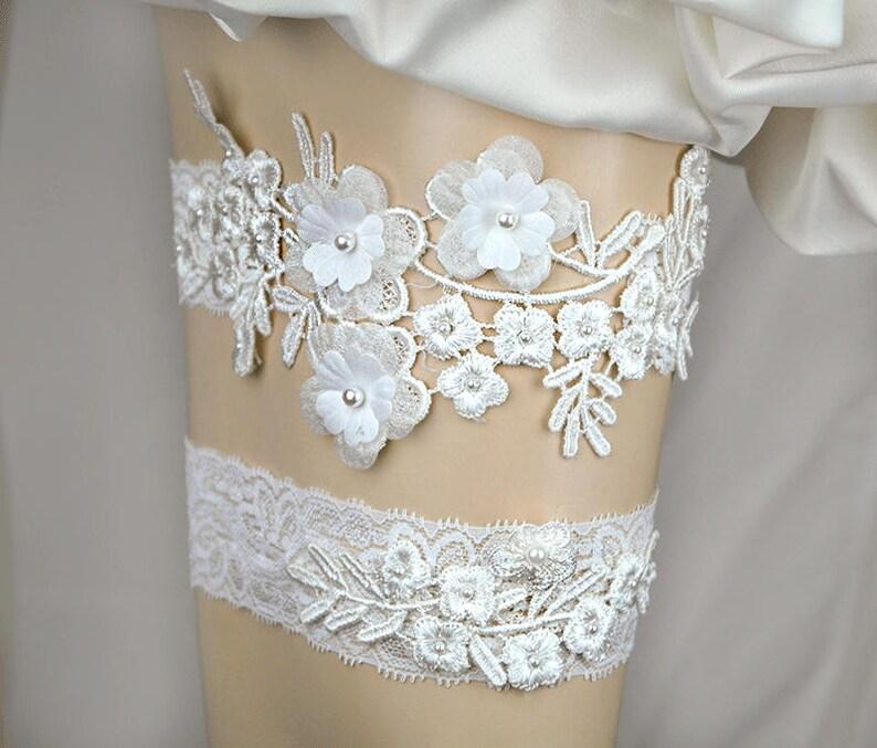 548419cca Wedding Garter SetIvory Lace with Lavender IvoryLt Blue