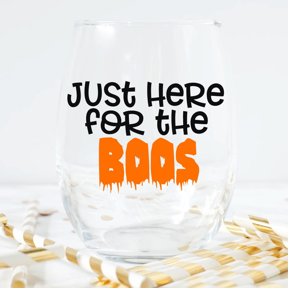 Just Here For The Boos Govino Stemless Wine Glass Cute Halloween Gifts Halloween Party 2017 Witch Fall Decorations