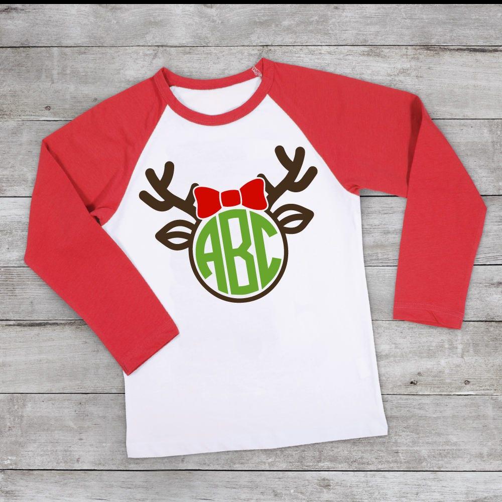 Monogrammed Reindeer shirt red christmas raglan reindeer kids shirt ...