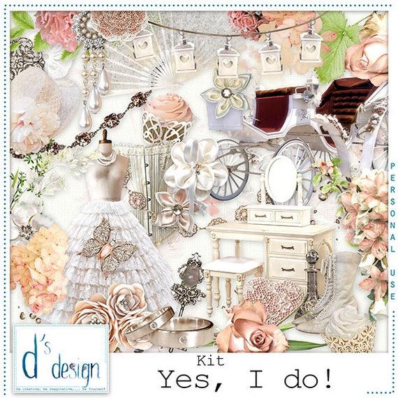 Wedding Scrapbook Kit: Yes I Do Digital Scrapbooking Kit Wedding Scrapbook