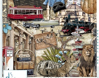 On The Road Again 3 - Digital Scrapbooking Kit - Travel - World - Adventure - Scrapbook - Imprimable