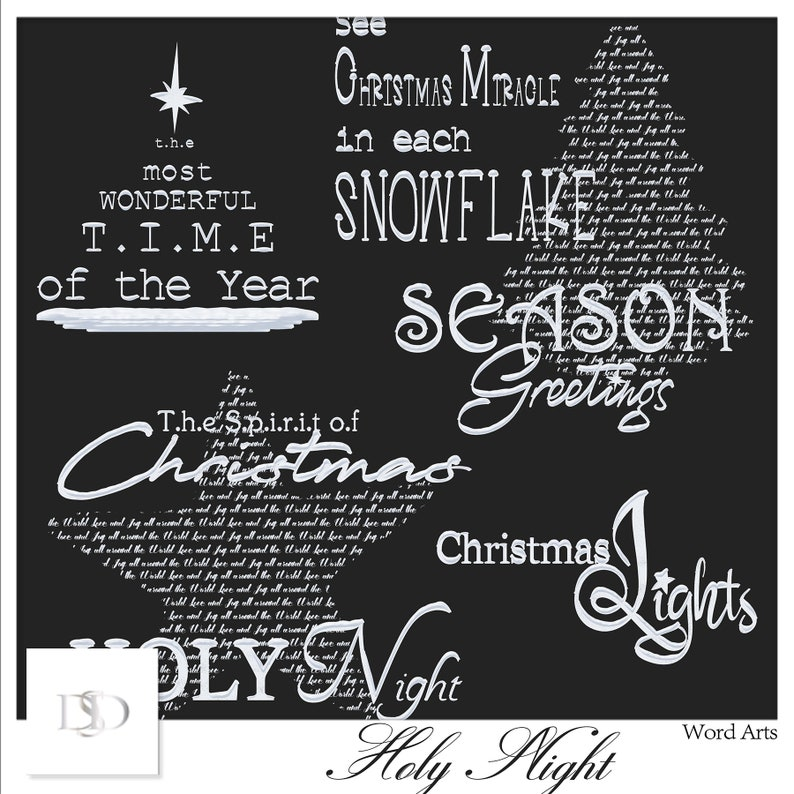 Christmas Scrapbook Holy Night Digital Scrapbooking Collection Imprimable