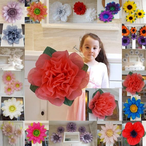 1x large 45cm coral rose tissue paper flower pom pom etsy image 0 mightylinksfo