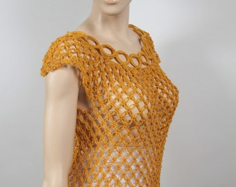 70's Style Crochet Dress Top.  Size Small to Medium