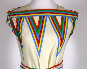 Vintage Gay Gibson Ivory Rainbow Shift Dress