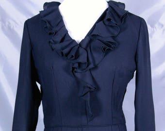 Black Long Sleeve Dress Ruffles Metal Zipper