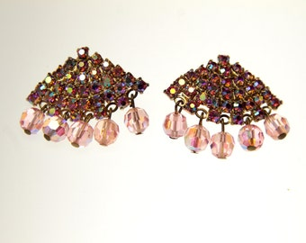 6ab6ef897ea Wedge shaped rhinestone clip-on earrings pink iridescent sparkling jewels