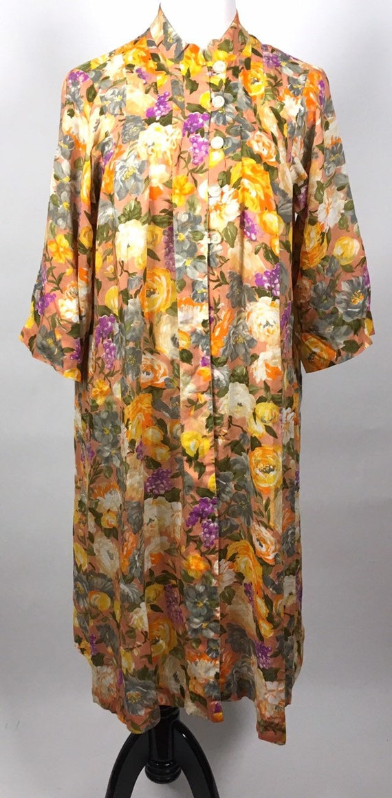 Vintage Floral Dressing Robe Gown 1960s