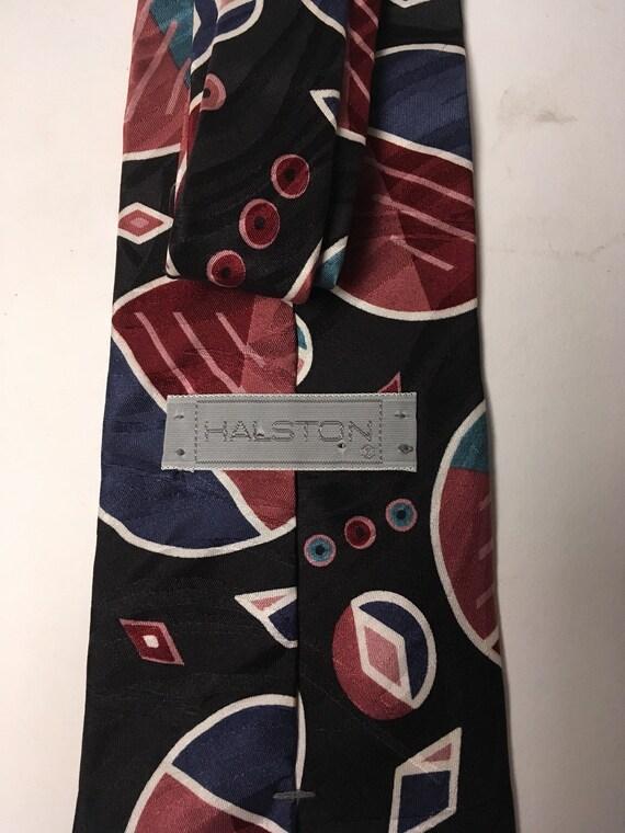 Halston navy and burgundy necktie - image 5